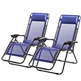 Set of 2 Zero Gravity Chairs Lounge Patio Chairs Outdoor Yard Beach