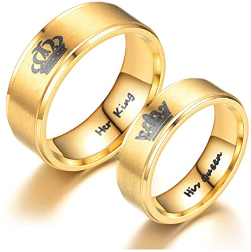 Amazon Com Her King His Queen Crown Ring Gold Ip Stainless Steel