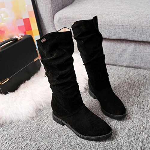 Womens Boots Suede Autumn Ladies Winter Calf Stylish Flat Faux Snow Boots Boots Black Sweet Fashion Flat Flock Clode® Mid Women Shoes vwnrqCvf