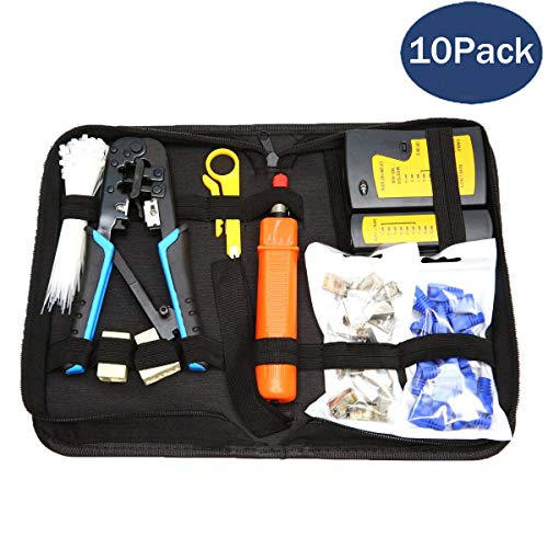 Cable Tester Kit - [UPGRADED] CloverTale Network Tool Repair Installation Kit, Ethernet POE LAN Cable Tester Computer Maintenance Coax Crimper Tool for RJ-45/11/12 Cat5/5e with Connector Accessories