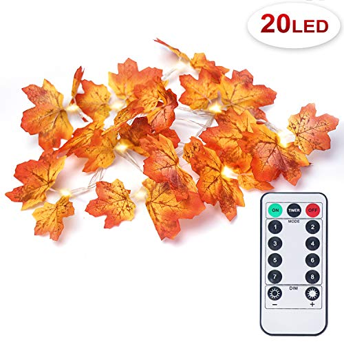 OMGAI Fall Maple Leaf String Light with Remote Control Timer, Waterproof Thanksgiving Decorations Battery Powered Lighted Garland for Holiday Party Indoor Outdoor (20LED) (Fall Lights Leaf)