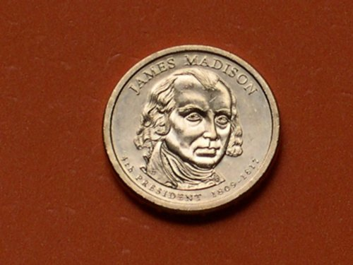 Mint 1809 - 2007 James Madison Presidential $1 Coin - 4th President, 1809-1817 Y04