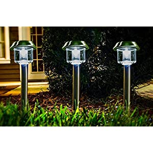 Highgate Solar Accent LED Path Lights, Stainless Steel, Solar-Powered, Set of 6 with Garden Stakes; Easy, Wireless Installation