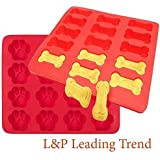 Charmed Dog Bone and paw print baking molds / ice tray ( Pack of 2)