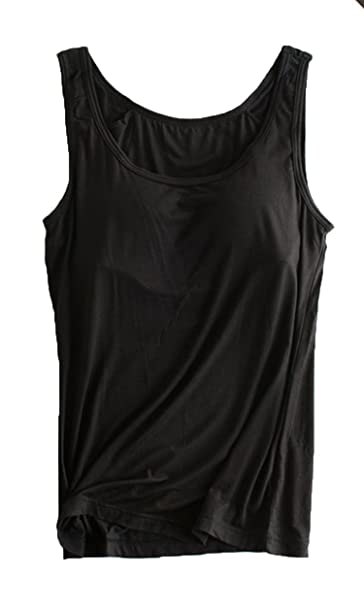9fa093a638ab5 Foxexy Womens Modal Strap Built-in Bra Padded Active Camisole Tank Top  Black US 0