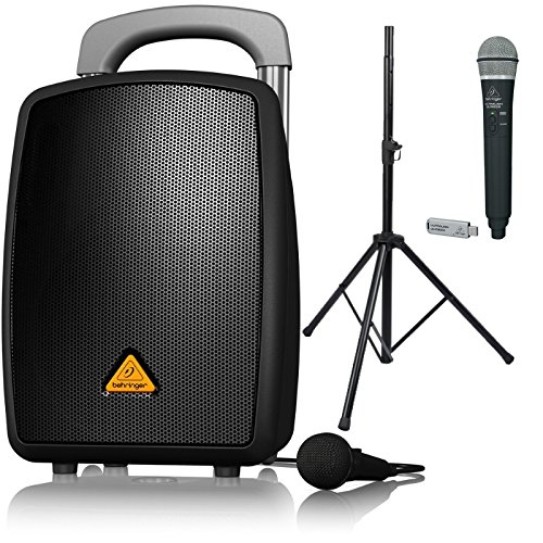Behringer EUROPORT MPA40BT-PRO All-in-One Portable PA System with Bluetooth, ULM300-USB Wireless Handheld Mic and Speaker Stand Bundle by Behringer Bundle