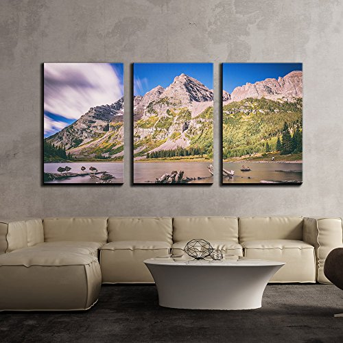 Maroon Bells (wall26 - 3 Piece Canvas Wall Art - Mountain Landscape with Dead Woods on the Lake,Maroon Bells,Colorado, United States - Modern Home Decor Stretched and Framed Ready to Hang - 16