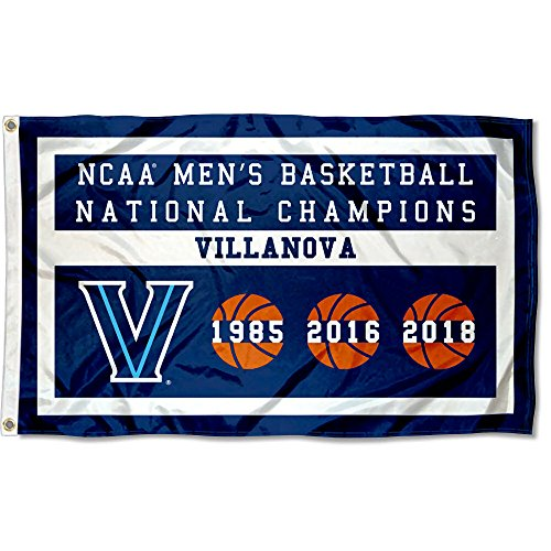 Villanova Wildcats Three Time Basketball National Champions Flag - Ncaa Tailgate Flag