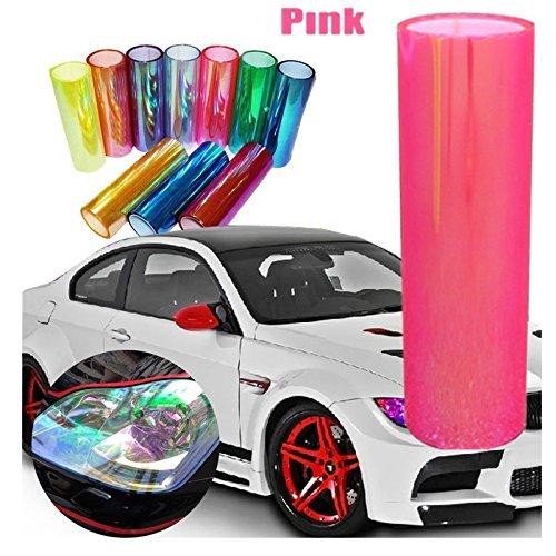 DIYAH 12 X 48 inches Self Adhesive Shiny Chameleon Headlights Tail Lights Fog Lights Films,Film Sheet Sticker,Tint Vinyl Film (Pink)