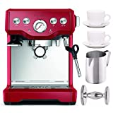 Breville BES840CBXL The Infuser Espresso Machine (Cranberry Red) + Frothing Pitcher, Handheld Tamper, and Tiar