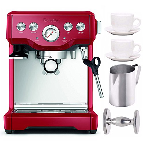Buy Bargain Breville BES840CBXL The Infuser Espresso Machine, Cranberry Red Includes Stainless Steel...