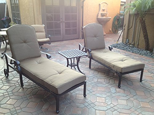 Nassau Outdoor Patio 3pc Chaise Lounges Set Dark Bronze Cast Aluminum (Walnut)