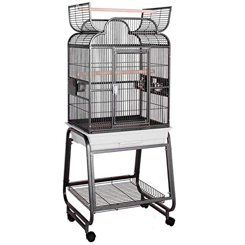 HQ's Opening Scroll Cage, Small Parrot Cage With Cart Stand, 1 Per Box, 22x17x55''H, Beige.. by Hq