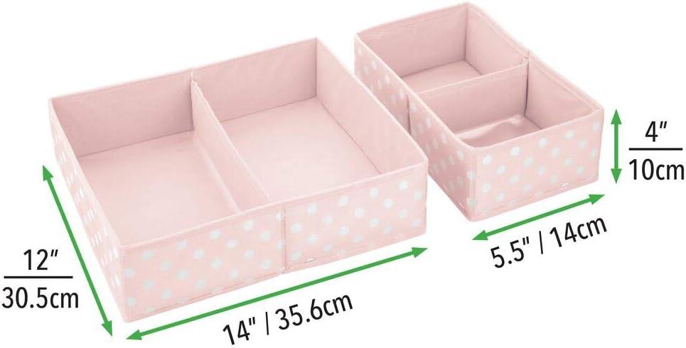 Kinderschrank Organizer aus atmungsaktiver Kunstfaser mDesign 2er-Set Aufbewahrungsbox f/ürs Kinderzimmer grau und wei/ß faltbare Kinderzimmer Aufbewahrungsbox in 2 Gr/ö/ßen f/ür Babykleidung