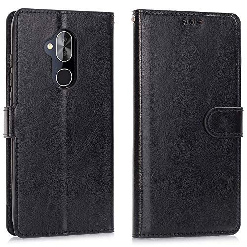 Alkax Wallet Case for Alcatel 7 / T-Mobile Revvl 2 Plus/Alcatel 7 Folio Luxury PU Leather with Credit Card Slots Holder Carrying Folio Flip Protective Cover Magnetic Case Kickstand and Stylus -Black