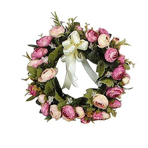 Adeeing Vintage Handmade 28cm Art Simulation Rose Flowers Wreath Garland for Home Wedding ()