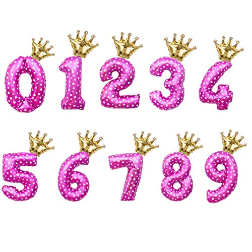 2Pcs/Lot 32Inch Number Foil Balloons Digit Air Ballon Kids Birthday Party Wild One Decorations Figure 30 Ans Decoracao Coroa 32In Dotpk 16In Gdhg Number 5]()