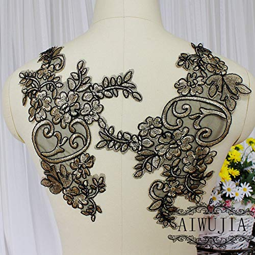 Lace Craft - 2Pieces Embroidered Lace Fabric Black Golden Venise Lace Applique Sewing DIY Halloween Costume Decoration Sewing Supplies ()