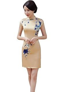 Avec Qipao Acvip Deux Chinoise Robe Cheongsam Couches Manche Femme POTkXZwiu