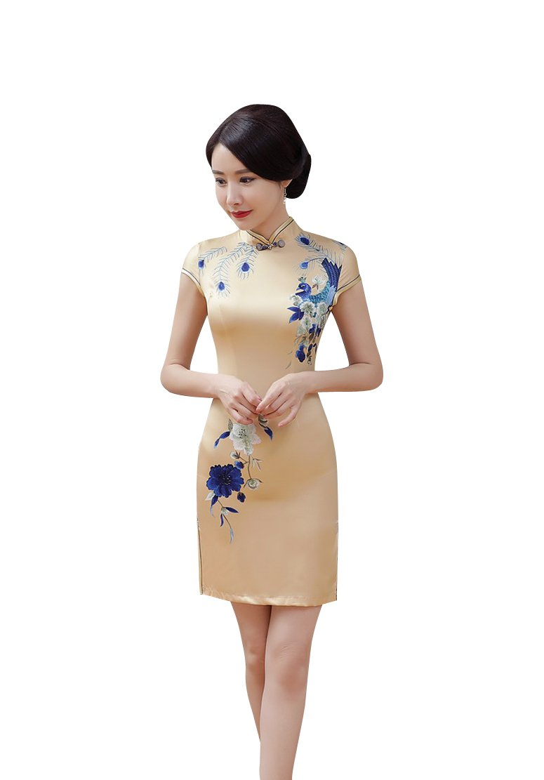 ACVIP Women Cap Sleeve Floral Vintage Elegant Chinese Mini Qipao Cheongsam (China M/Bust:33.9'')