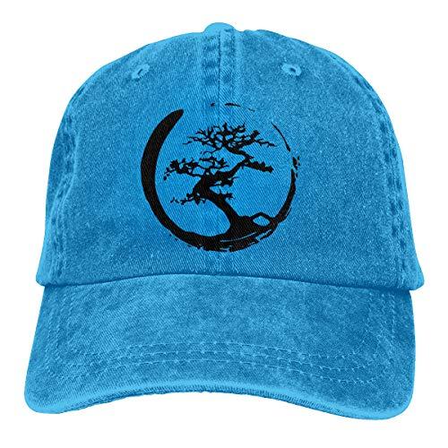 Cap Denim Headgear (Zen Bonsai Tree in Enso Circle Travel Sports Jean Cloth Headgear Blue)