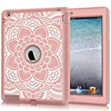 ipad 2 case for girls - iPad 2/3/4 Case, Hocase Shockproof Heavy Duty Hard Plastic+Silicone Rubber Dual Layer Screenless Protective Case for 9.7-inch iPad 2nd/3rd/4th Generation Retina - Rose Gold Mandala Floral Print