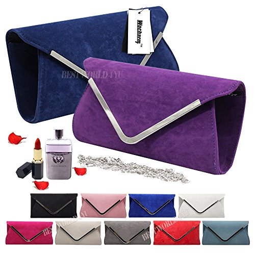 Envelope Trim Blue Faux Royal Silver Bag Hand Clutch Suede Womens Party Shoulder Hardcase Wocharm FYgwIOUxqO