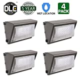 Hykolity 40W LED Wall Pack Light Commercial Grade Dimmable Weatherproof Outdoor Perimeter Security Lighting Fixture [175W MH Equivalent] 5000lm 5000K Daylight White and DLC Qualified-Pack of 4