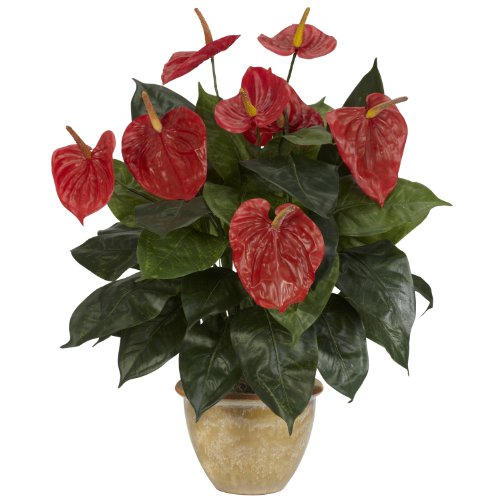 Nearly Natural 6665 Anthurium with Ceramic Vase Decorative Silk Plant, Red