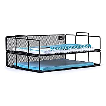 Mindspace 2 Tier Stackable Letter Tray Desk Organizer   The Mesh Collection, Black