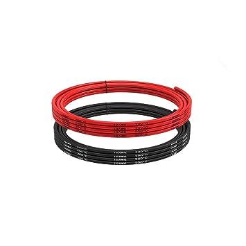18 Gauge Silikon Draht 5 Meter (2,5 Meter Schwarz und 2,5 Meter Rot ...