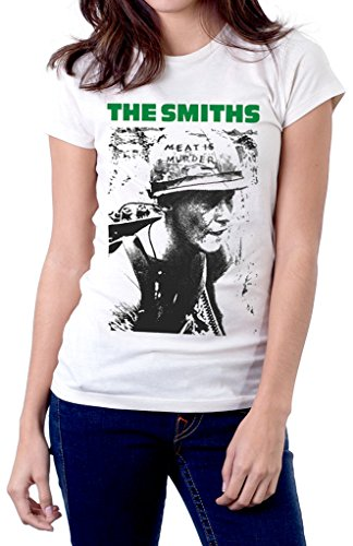 The Smiths Meat Is Murder Band Logo Women's T Shirt Medium White (T Shirt Murder Meat Is The Smiths)