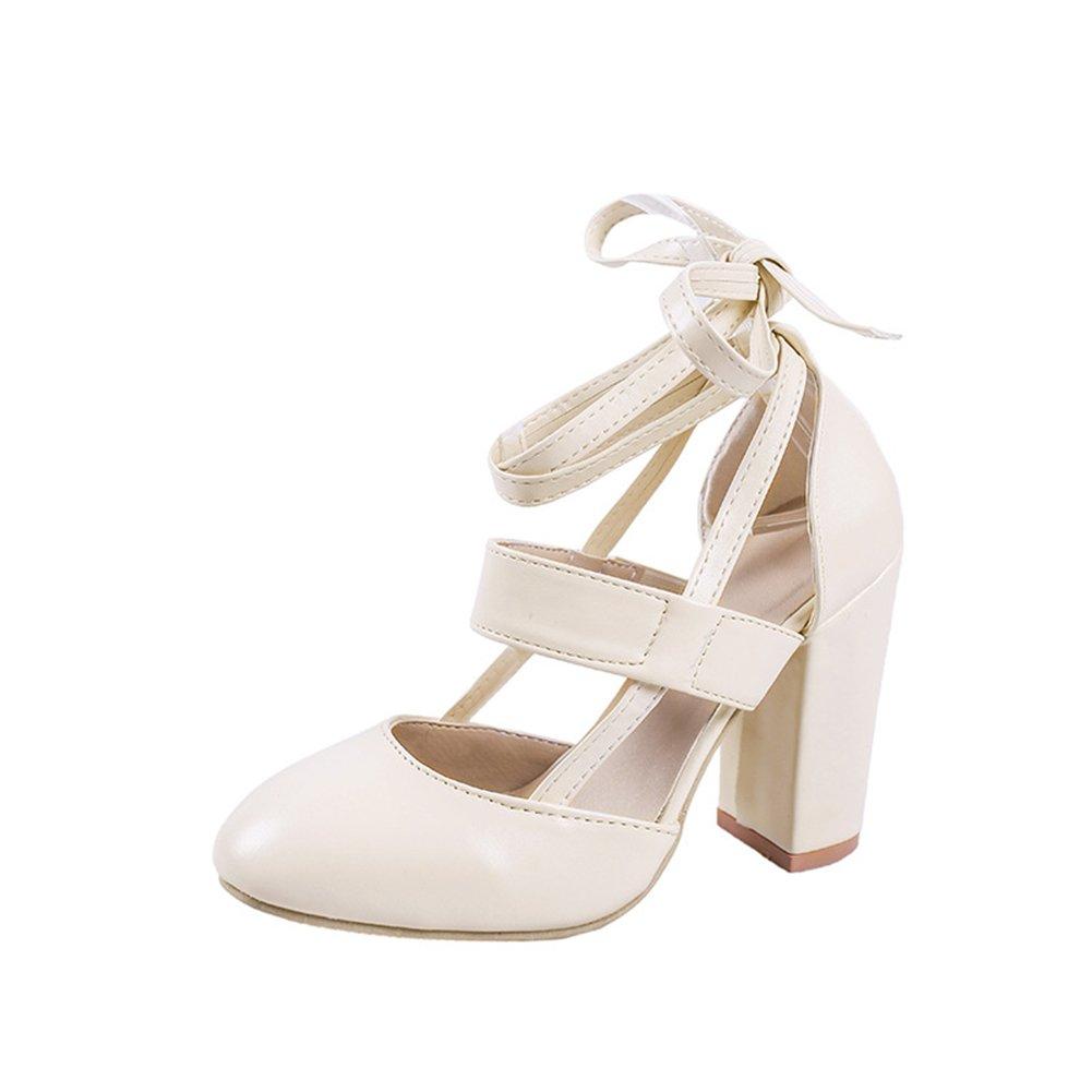 Zapatos de Mujer 2018 Nuevo Verano de Tacón Grueso con Zapatos de Gran Tamaño Sandalias de PU Artificiales Mujeres de Gran Tamaño Sandalias de Tacón Grueso (Color : Beige, Tamaño : 37) 37|Beige