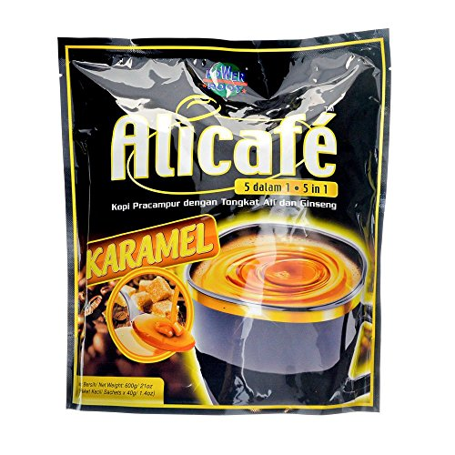 Power Root Alicafe 5 in 1 KARAMEL ( Caramel ) Instant Premix Coffee Drink With Tongkat Ali & Ginseng 600 g ( 40 g × 15 Sachets)