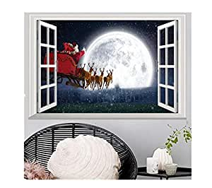 75-50CM ؤChristmas wall stickers Santa Claus Deer team gifts night view children's room decoration stickers