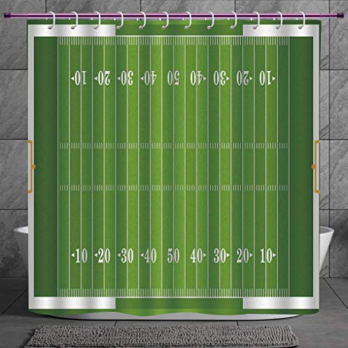 SCOCICI Decorative Shower Curtain 2.0 [ Football,Sports Field in Green Gridiron Yard Competitive Games College Teamwork Superbowl,Green White ] Bathroom Accessories with Hooks