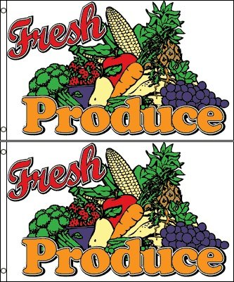 Fresh Produce Banner Flag (Pack of 2) - 3 x (Flag Banner Sign)