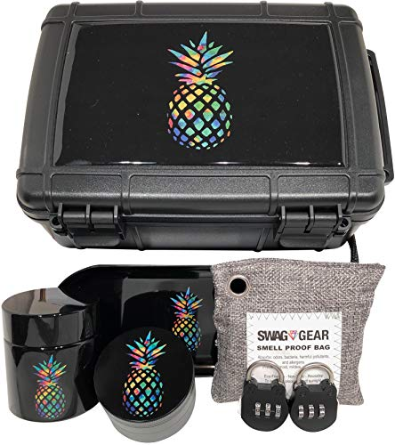 Smell Proof Stash Box Combo – Locking Stash Box Combo – Comes with Grinder Stash Jar and Rolling Tray – Stash Container with Accessories (Pineapple)