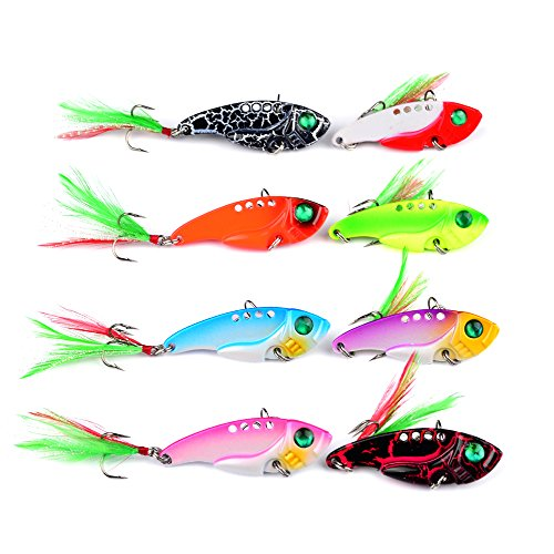 YeaFun VIB Spoon Blade Metal Fishing Lure, Bream Bass Flathead Crank bait Spinner pack of 8 (Precision Trolling Big Water)
