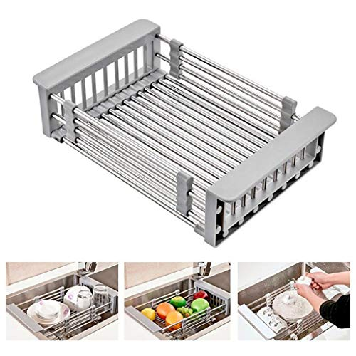 - Juner Telescopic Dish Drying Rack, Stainless Steel Dish Drainer, On Counter or in Sink Dish Rack, Deep and Large- Rustproof (Silve)