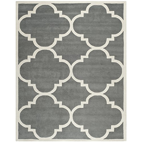 683726576488 - Safavieh Chatham Collection CHT730D Handmade Dark Grey and Ivory Premium Wool Area Rug (11' x 15') carousel main 0