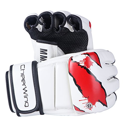 Cheerwing Boxing Gloves MMA UFC Sparring Grappling Fight Punch Mitts Leather Training Gloves, White (Leather Punch Mitts)