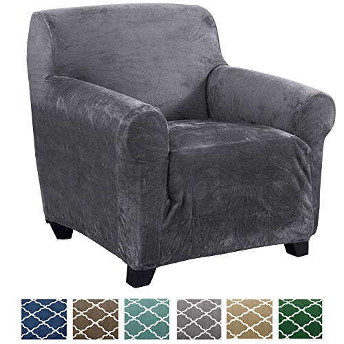Form Fit, Slip Resistant, Stylish Furniture Shield/Protector Featuring Velvet Plush Fabric Magnolia Collection Strapless Slipcover (Chair, Grey)