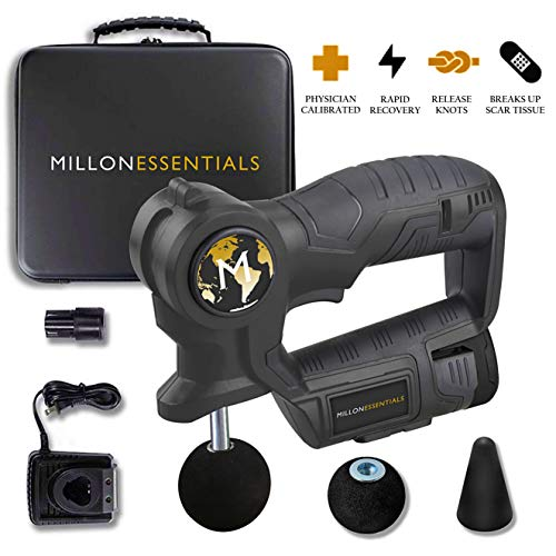 MillonEssentials Muscle Recovery Massage Gun - #1 Powerful Handheld Percussion Massager - Portable Deep Tissue Device - Cordless & Rechargeable Pain Relief Machine - Personal Body Stimulation Therapy ()