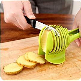 "Rienar Tomato Slicer ,Multifunctional Handheld Tomato Round Slicer Fruit Vegetable Cutter,Lemon Shreadders Slicer 5 Material : ABS Mold Size :18.5 x 8 CM /7.3 ""X 3.1"" Package Includes : 1 x HandHeld FruitS Round Slicer With this tomato slicer,you'll create perfect tomato slices everytime,This kind of fruit and vegetable slice assistant design novel, beautiful, bright color, easy to operate, safe and reliable. Add the tomato slicer along each gap from the top down the you could cut it into pieces"