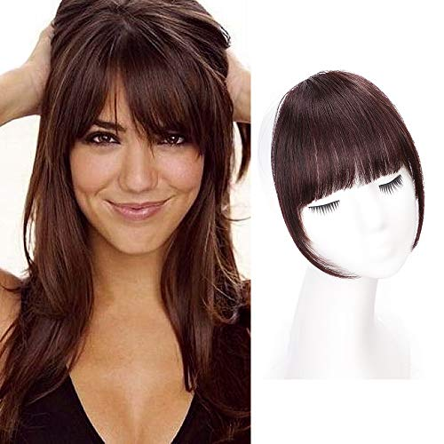AISI QUEENS Clip in Bangs 100% Human Hair Extensions Red Brown Clip on Fringe Bangs with nice net Natural Flat neat Bangs with Temples for women One Piece Hairpiece for Daily Wear (Hair Extension Red Clip)