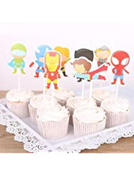 Astra Gourmet 24 Picks Kartoon Avengers Superhero Cupcake Toppers for Themed Party Birthday Party Decoration(8 Design)