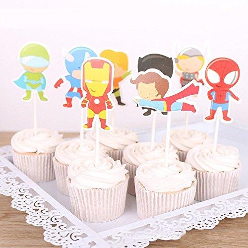 Astra Gourmet 24 Picks Kartoon Avengers Superhero Cupcake Toppers for Themed Party Birthday Party Decoration(8 (Superhero Cupcakes)
