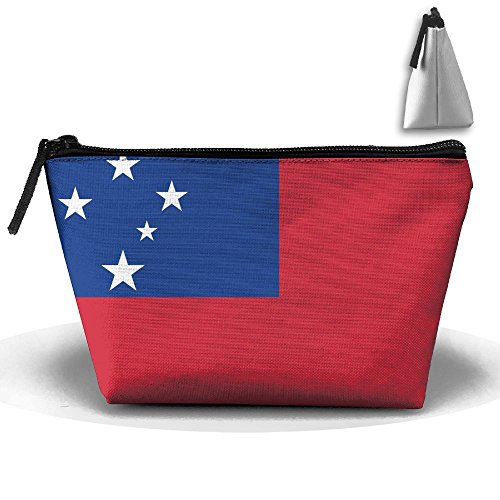 (National Flag Of Samoa Makeup Bag Large Trapezoidal Storage Travel Bag Wash Cosmetic Pouch Pencil Holder Zipper Waterproof)