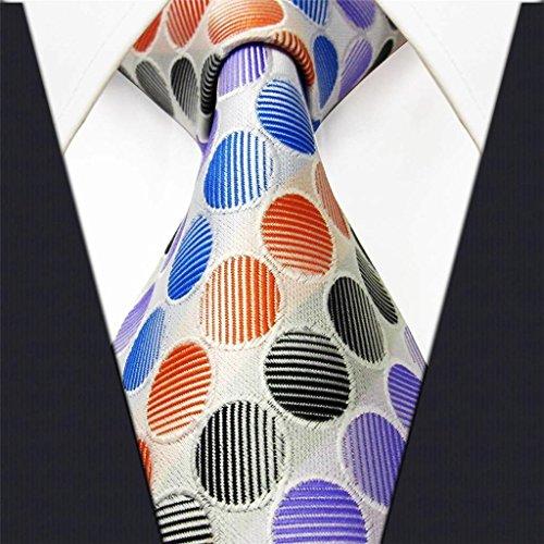 Shlax & Wing Polka Dots Orange Blue Black Mens Neckties Ties Silk